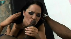 Curvy brunette Dakota Redd has a huge black stick filling her pussy