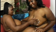 Big black women indulge in some girl on girl action together
