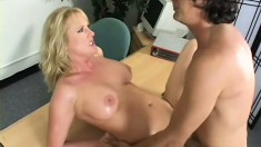 Sexy blonde Milf blows and he jams his pecker in both of her holes