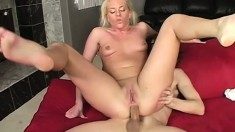 Horny blond loves to fuck and she begs him to finish in her ass