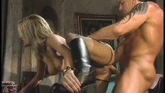 Trashy blonde babe Cameron Cane gets her bald pussy pounded raw
