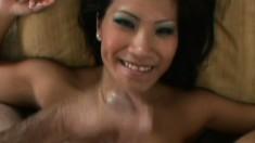 Asian beauty Christina enjoys some deep dicking in POV scene