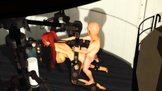 Red Haired Gagged Girl In Cuffs Gets Fucked Hard By Midget