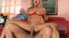 Tight blonde babe with massive knockers gets fucked hard and deep
