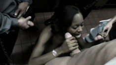 A hot black hooker gets her body filled up with firm white meat
