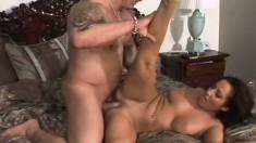 Handsome dude's hard cock enters Richelle Ryan's tasty vagina