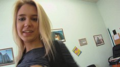 Mesmerizing blonde teen gets her twat nailed deep in her job interview