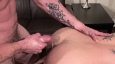 Inked up hunk plows his bottom's plump hairy butt balls deep