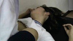 Sultry Japanese schoolgirl has a hard dick making her hairy pussy wet