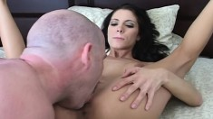Brunette Trinity chokes down his big prick and gets cunt and ass fucked