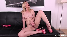 Tara drives a pink dildo in and out of her pussy and enjoys the sensations it offers