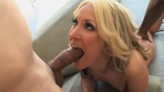 Blonde Chelsie gives them a quick blowjob and is covered in cream