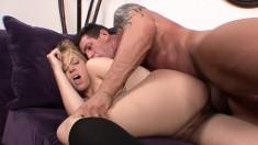 Hot schoolgirl Hollie Stevens has a muscled stud pounding her snatch