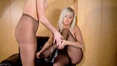 Seductive Vamp Sonia Does A Sexy Strip Tease With Her Blonde Girlfriend