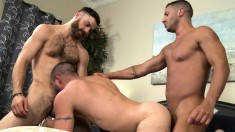 Trio of muscled dudes strip in the bedroom to suck cock and fuck in the ass