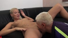 Provoking blonde with perky tits Karol Lillien loves to suck and fuck