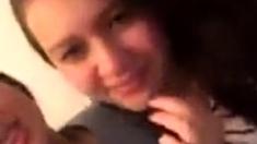 Girls kiss in webcam