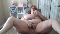 Fat amateur with huge boobs have sex with skinny guy
