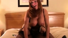 Teasing Redhead Milf With Glasses And Huge Boobs Sucks Cock