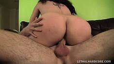 Kiki's marvelous ass and splendid boobs sensually shake as she rides his big cock