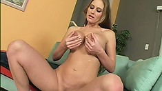 Abby sensually massages her tits and fingers her holes before sucking a big cock