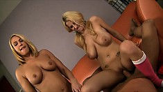 Duo of blonde hos gives it up to pleasure a big hard schlong
