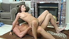 A lusty coed rides a hard gigantic boner reverse cowgirl style