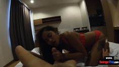 Asian teen girlfriend with a big ass blowjob and fucked