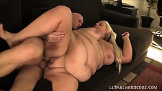 Huge blonde plumper titty fucks and blows, then gets her big pussy nailed