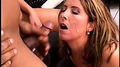 Two horny mature babes get the final taste of amazing warm jizz