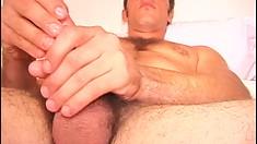 Hunky straight buck gets satisfaction by filming himself masturbating