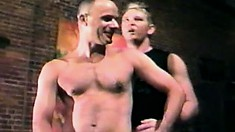 Blindfolded gay stud comes while getting his hard prick sucked