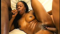 Phat booty black babe takes two throbbing peckers in a hot threesome
