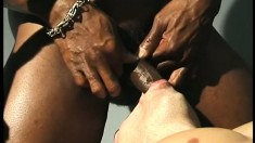 Cute white stud blows a huge black dick and then takes it up his ass