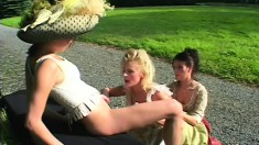 Period piece with three old-fashioned lesbians eating pussy outside