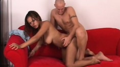 Striking ebony girl exposes her superb body and wildly fucks a big rod