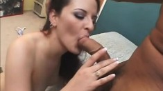 Buxom brunette broad with a great ass takes on a big ebony cock
